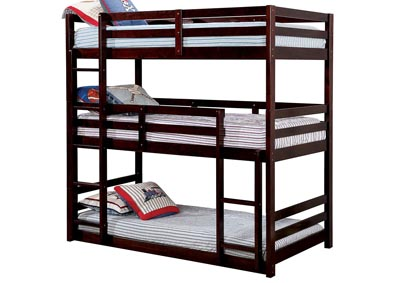 California V Espresso Twin/Twin/Twin 3-Tiered Bunk Bed
