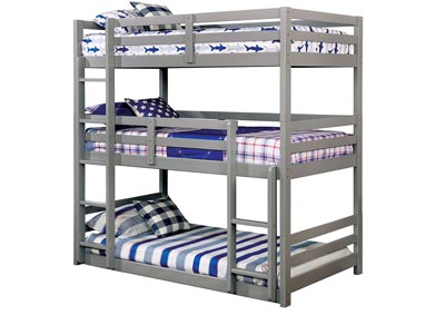 California V Gray Twin/Twin/Twin 3-Tiered Bunk Bed
