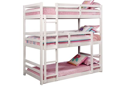 California V White Twin/Twin/Twin 3-Tiered Bunk Bed