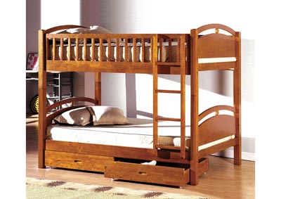 California l Oak 2 Drawer Twin Bunk Bed w/Dresser, Mirror and Nightstand