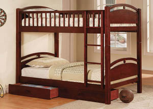 California l Cherry 2 Drawer Twin Bunk Bed w/Dresser, Mirror, Drawer Chest and Nightstand