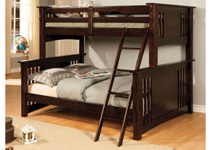 Spring Creek Dark Walnut Full Bunk Bed w/Dresser, Mirror, Drawer Chest and Nighstand