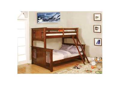 Spring Creek Oak Full Bunk Bed w/Dresser, Mirror, Drawer Chest and Nightstand