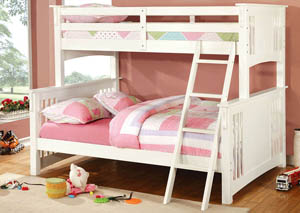 Spring Creek White Full Bunk Bed w/Dresser, Mirror, Drawer Chest and Nightstand