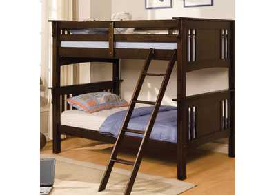 Spring Creek Dark Walnut Twin Bunk Bed w/Dresser, Mirror, Drawer Chest and Nightstand