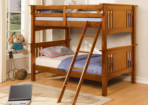 Spring Creek Oak Twin Bunk Bed w/Dresser, Mirror, Drawer Chest and Nightstand