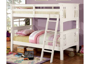 Spring Creek White Twin Bunk Bed w/Dresser, Mirror, Drawer Chest and Nightstand