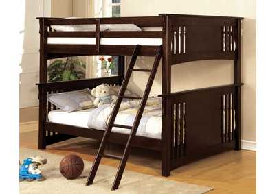 Spring Creek Dark Walnut Full Bunk Bed w/Dresser, Mirror, Drawer Chest and Nightstand