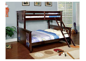 Spring Creek Dark Walnut Twin Xl/Queen Bunk Bed w/Dresser, Mirror, Drawer Chest and Nightstand