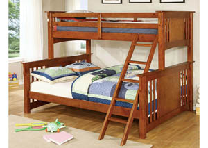 Spring Creek Oak Twin Xl/Queen Bunk Bed w/Dresser, Mirror, Drawer Chest and Nightstand