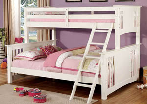 Spring Creek White Twin Xl/Queen Bunk Bed w/Dresser, Mirror, Drawer Chest and Nightstand