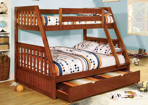 Canberra Oak Twin/Full Bunk Bed w/Dresser, Mirror, Drawer Chest and Nightstand