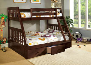 Canberra Dark Walnut Twin/Full Bunk Bed w/3 Underbed Drawers