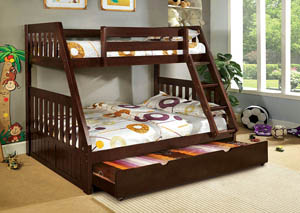 Canberra Dark Walnut Twin/Full Bunk Bed w/Dresser, Mirror, Drawer Chest, and Nightstand
