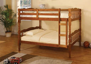Catalina Oak Twin Bunk Bed w/Dresser, Mirror, Drawer Chest and Nightstand