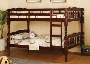 Catalina Cherry Twin Bunk Bed w/Dresser, Mirror, Drawer Chest and Nightstand