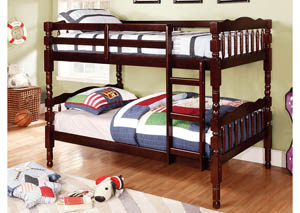 Catalina Dark Walnut Twin Bunk Bed w/Dresser, Mirror, Drawer Chest and Nightstand