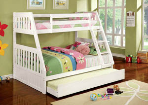 Canberra ll White Twin/Full Trundle Bunk Bed w/Dresser and Mirror