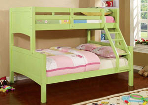 Prismo ll Green Full Bunk Bed w/Dresser, Mirror, Drawer Chest and Nightstand