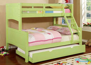 Prismo ll Green Full Bunk Bed w/Trundle