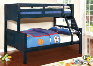 Prismo ll Blue Full Bunk Bed w/Dresser, Mirror, Drawer Chest and Nightstand