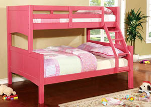Prismo ll Pink Full Bunk Bed w/Dresser, Mirror, Drawer Chest and Nightstand