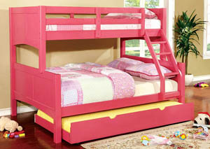 Prismo ll Pink Full Bunk Bed w/Trundle