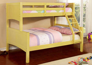 Prismo ll Yellow Full Bunk Bed w/Dresser and Mirror
