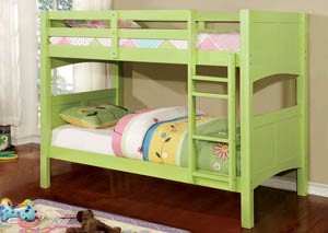 Prismo ll Green Twin Bunk Bed w/Dresser, Mirror, Drawer Chest and Nightstand