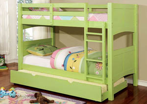 Prismo ll Green Twin Bunk Bed w/Trundle