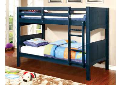 Prismo ll Blue Twin Bunk Bed w/Dresser, Mirror, Drawer Chest and Nightstand