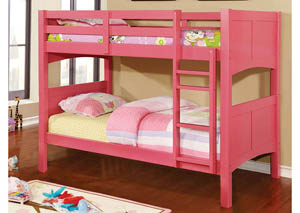 Prismo ll Pink Twin Bunk Bed w/Dresser, Mirror, Drawer Chest and Nightstand