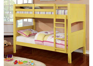 Prismo ll Yellow Twin Bunk Bed w/Dresser, Mirror, Drawer Chest and Nightstand