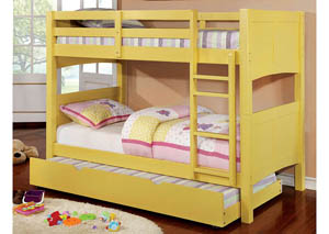Prismo ll Yellow Twin Bunk Bed w/Trundle