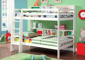Camino White Twin Bunk Bed w/Dresser, Mirror, Drawer Chest and Nightstand