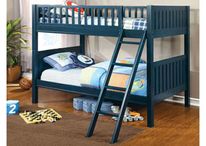 Solpine Dark Blue Twin Bunk Bed