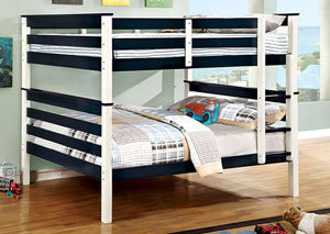 Lorren Blue & White Full/Full Bunk Bed w/Ladder