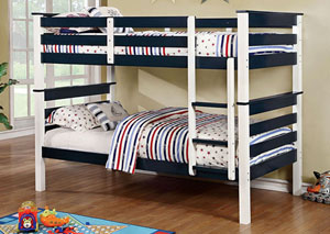 Lorren Blue & White Twin/Twin Bunk Bed w/Ladder