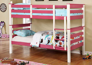 Lorren Pink & White Twin/Twin Bunk Bed