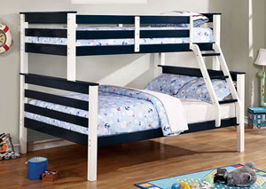 Lorren Blue & White Twin/Full Bunk Bed w/Ladder