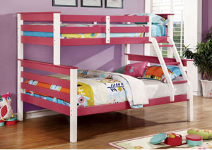 Lorren Pink & White Twin/Full Bunk Bed