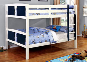 Corral Blue & White Full/Full Bunk Bed w/Ladder
