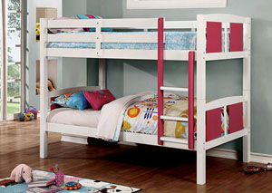 Corral Pink & White Twin/Twin Bunk Bed w/Ladder