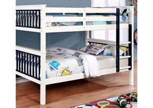 Corrin Blue & White Full/Full Bunk Bed w/Ladder