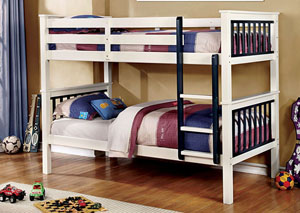 Corrin Blue & White Twin/Twin Bunk Bed w/Ladder