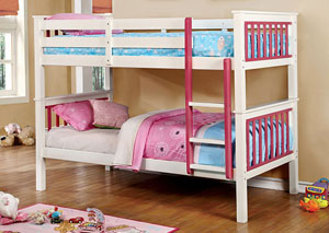 Corrin Pink & White Twin/Twin Bunk Bed w/Ladder