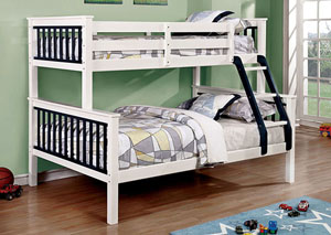 Corrin Blue & White Twin/Full Bunk Bed w/Ladder