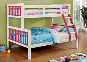 Corrin Pink & White Twin/Full Bunk Bed w/Ladder