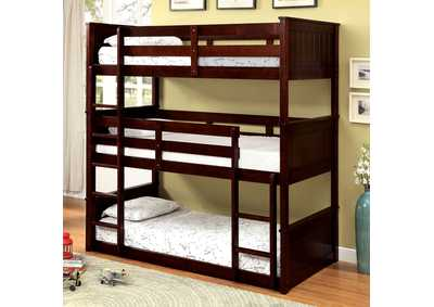 Therese Espresso Triple Twin Decker Bed