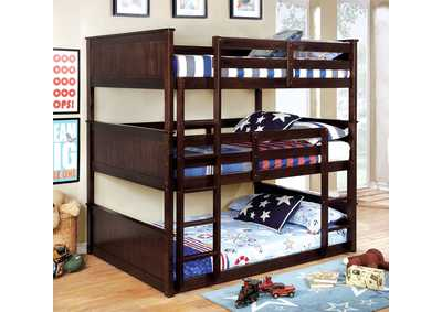 Therese Espresso Full Triple Decker Bed
